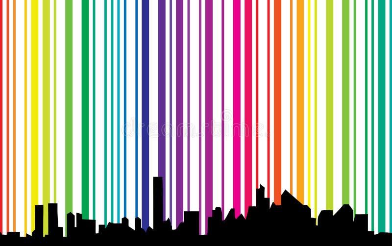Arquitectura da cidade com fundo do espectro ilustração stock