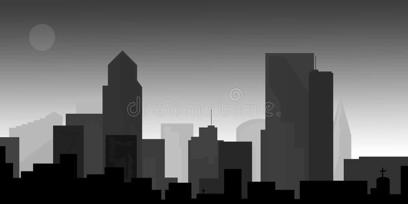 Arquitectura da cidade da baixa no crepúsculo ilustração stock
