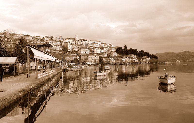 Arquitectura da cidade de KAstoria, Greece fotos de stock royalty free