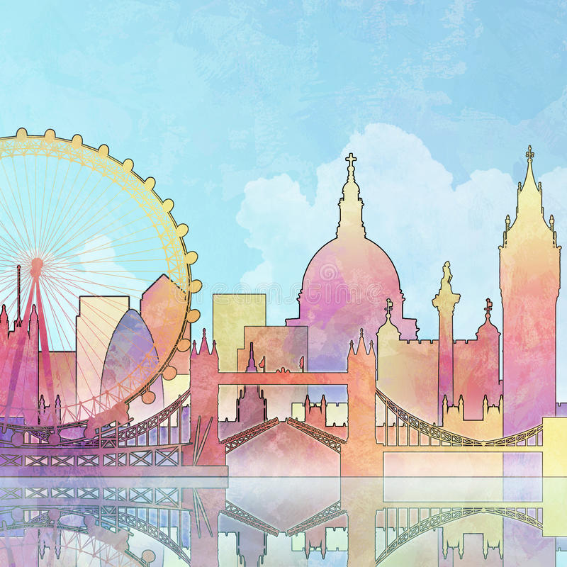 Arquitectura da cidade de Londres ilustração royalty free