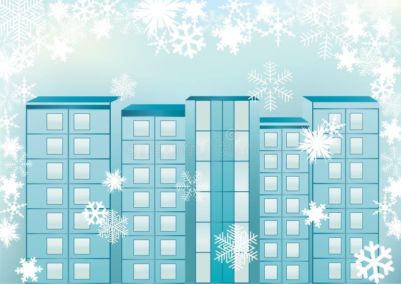 Arquitectura da cidade do inverno. ilustração do vetor