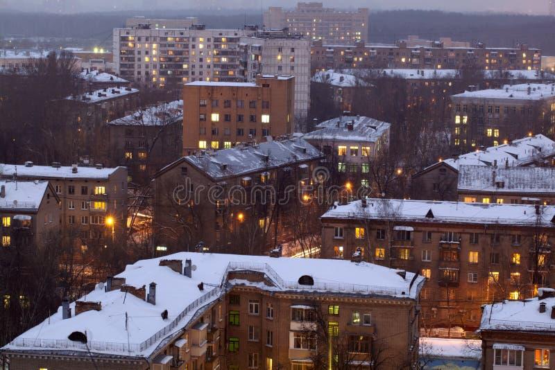 Arquitectura da cidade do inverno. imagens de stock royalty free