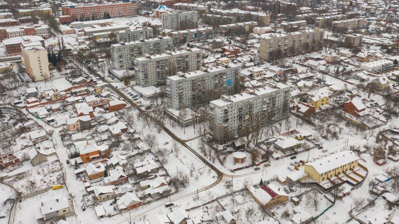 Arquitectura da cidade do inverno Dnepr, Dnepropetrovsk, Dnipropetrovsk ucrânia foto de stock royalty free