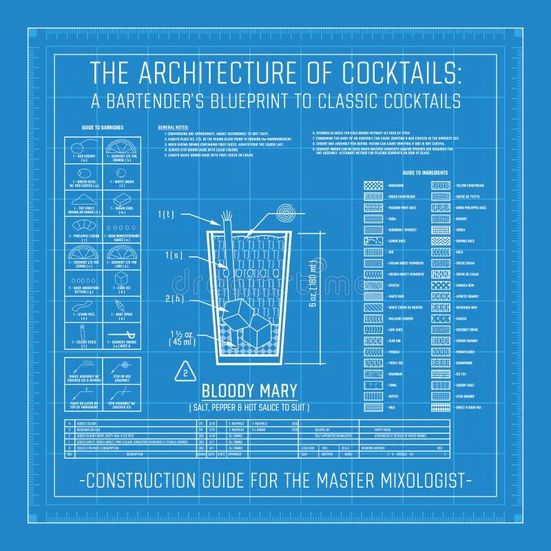 Arquitectura de cócteles el modelo de un camarero a los cócteles clásicos libre illustration