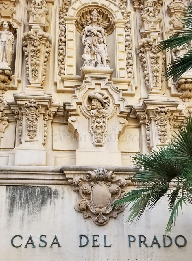 Arquitectura de Casa del Prado Historic en el parque San Diego California del balboa imagen de archivo libre de regalías