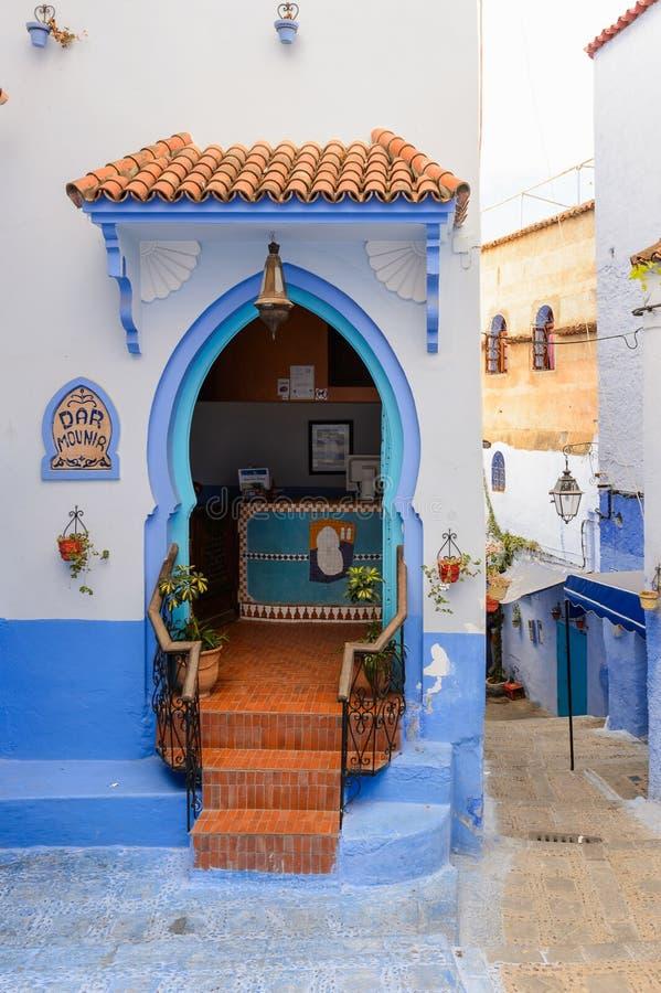 Arquitectura de Chefchaouen, Marruecos imagen de archivo libre de regalías