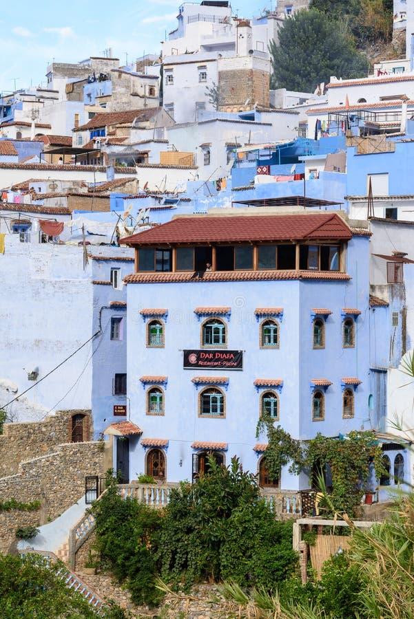 Arquitectura de Chefchaouen, Marruecos imagen de archivo
