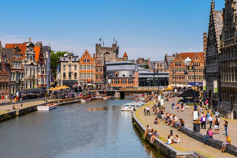 Arquitectura de Gante, Bélgica foto de archivo libre de regalías