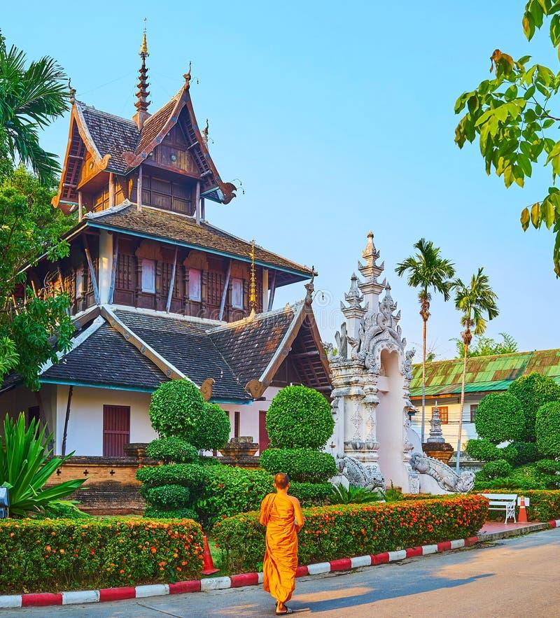 Arquitectura de Ho Trai en Wat Chedi Luang, Chiang Mai, Tailandia foto de archivo