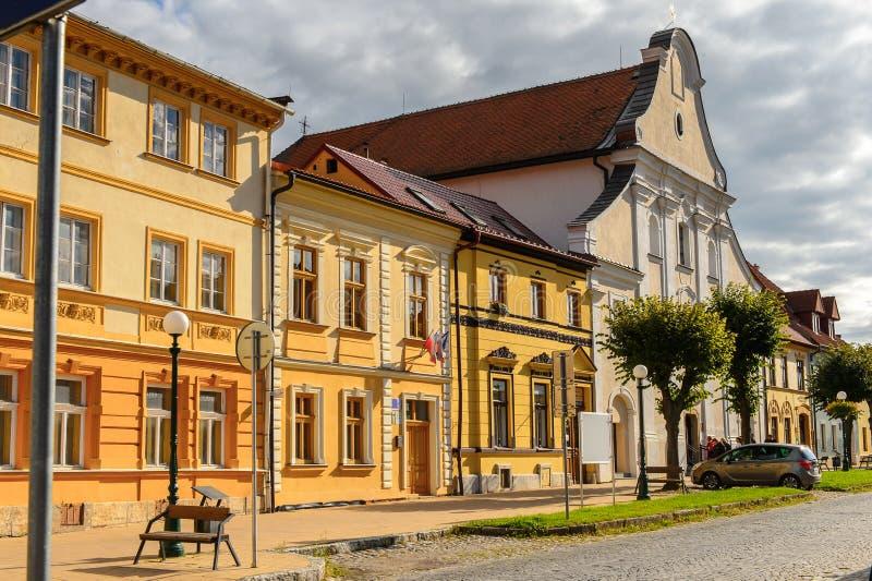 Arquitectura de Kezmarok, Eslovaquia, imagen de archivo
