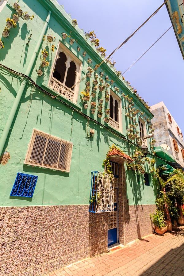 Arquitectura de la casa de la ciudad de Tánger, Marruecos foto de archivo