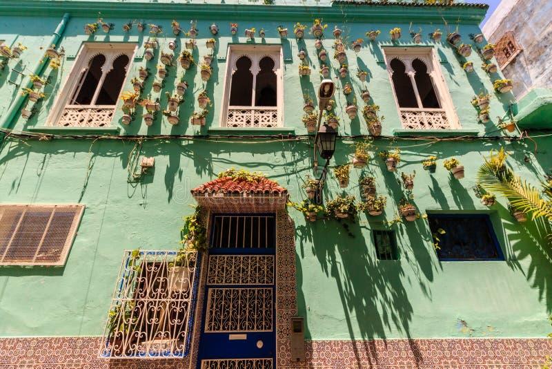 Arquitectura de la casa de la ciudad de Tánger, Marruecos foto de archivo libre de regalías