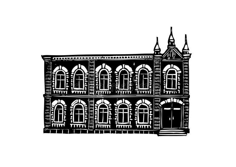 Arquitectura de la ciudad de Krasnoyarsk Gráficos blancos y negros, convenientes para los productos impresos stock de ilustración