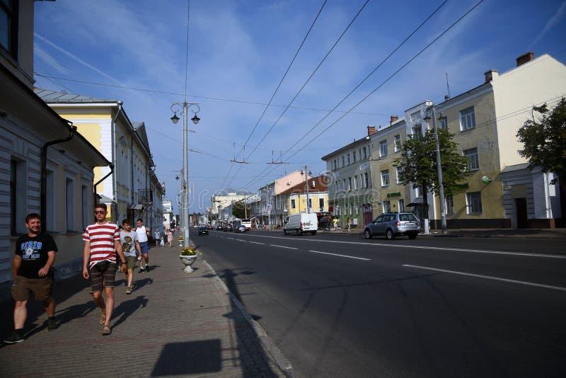 Arquitectura de la ciudad de Vladimir, Rusia Calle de Bolshaya Moskovskaya en el centro de ciudad histórico fotos de archivo libres de regalías