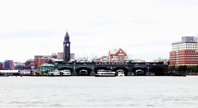 Arquitectura de la costa de Hoboken en Hudson River foto de archivo