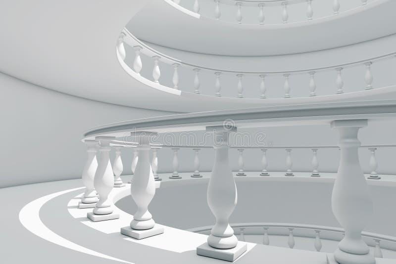 Arquitectura de la manera clásica de la barandilla del espiral del estilo entre la Florida ilustración del vector