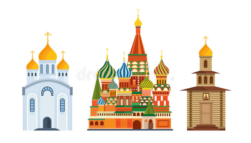 Arquitectura de los monumentos, iglesia ortodoxa famosa de St Basil Blessed, catedral stock de ilustración
