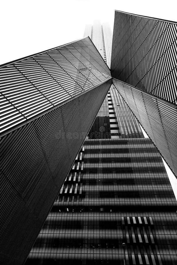 Arquitectura de Melbourne CBD en blanco y negro imagen de archivo