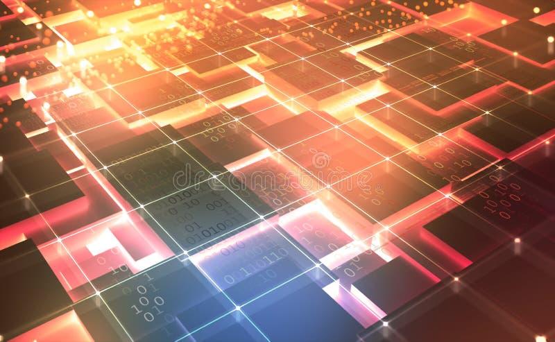 Arquitectura de ordenador cu?ntico Concepto del extracto del ciberespacio Red de Blockchain ilustración del vector