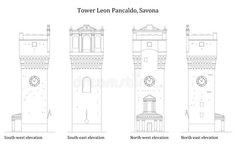 Arquitectura de una torre medieval antigua stock de ilustración