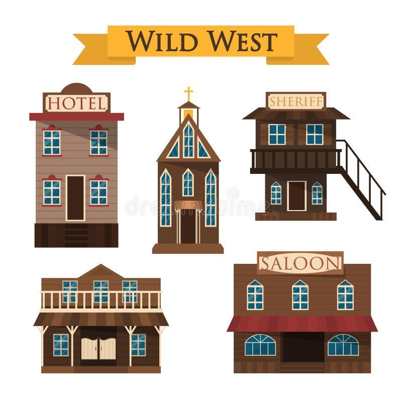 Arquitectura del oeste salvaje Salón, hotel y sheriff libre illustration