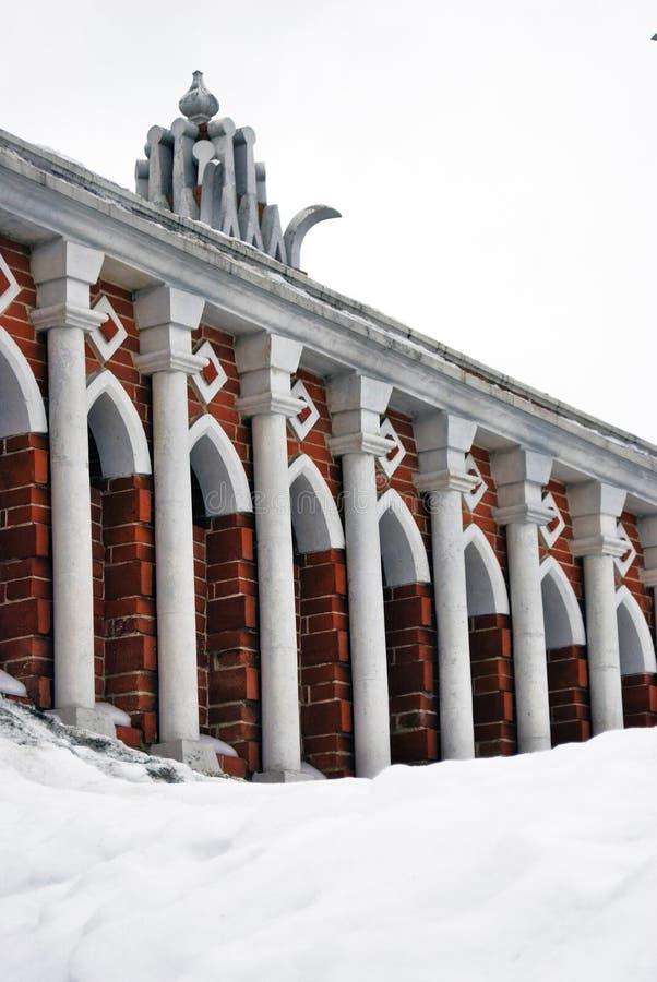 Arquitectura del parque de Tsaritsyno en Moscú Puente calculado imagenes de archivo