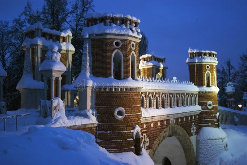Arquitectura del parque de Tsaritsyno en Moscú Puente calculado foto de archivo libre de regalías