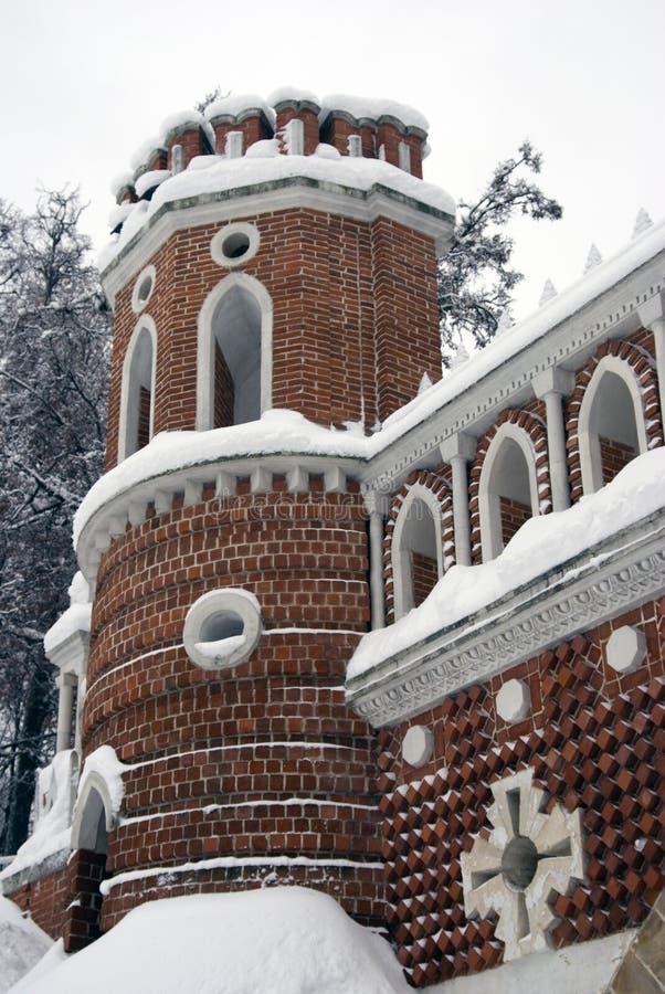 Arquitectura del parque de Tsaritsyno en Moscú Puente calculado fotografía de archivo