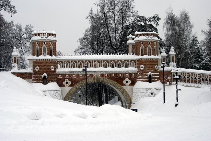 Arquitectura del parque de Tsaritsyno en Moscú Puente calculado foto de archivo
