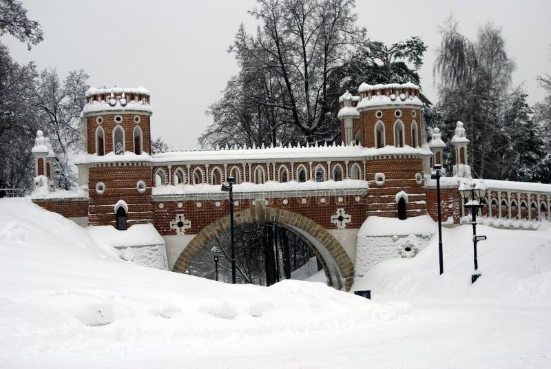 Arquitectura del parque de Tsaritsyno en Moscú Puente calculado imágenes de archivo libres de regalías