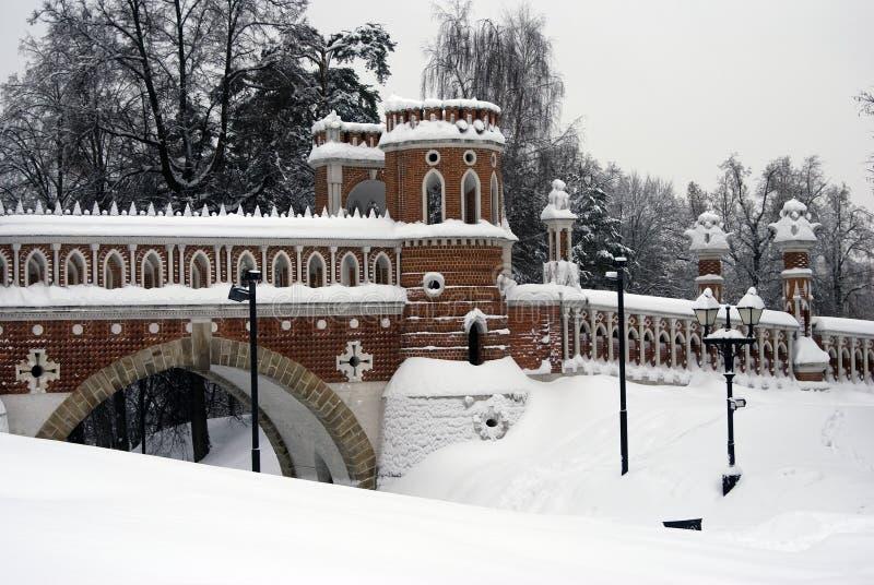 Arquitectura del parque de Tsaritsyno en Moscú Puente calculado fotografía de archivo libre de regalías