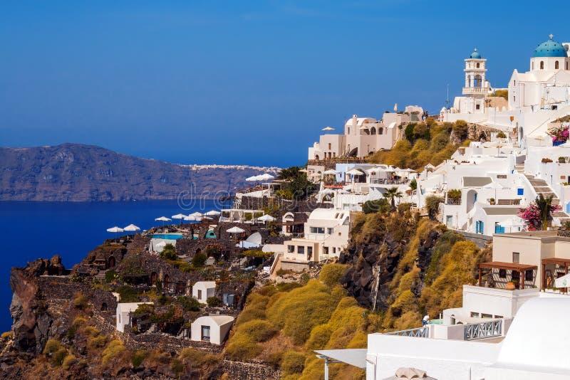 Arquitectura del pueblo de Imerovigli, isla de Santorini foto de archivo