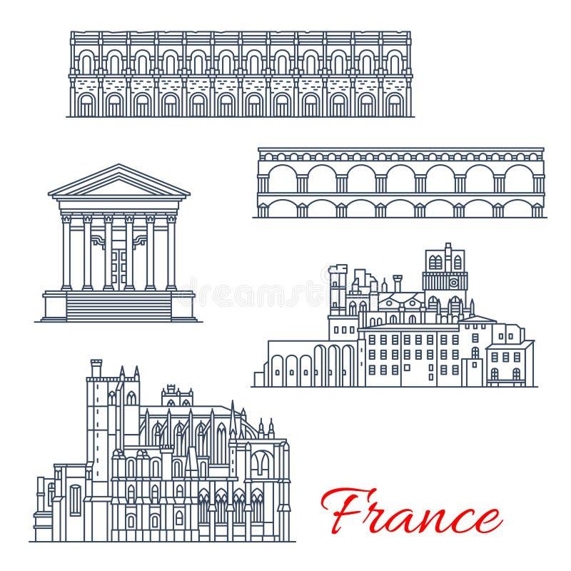 Arquitectura del vector Nimes y de Narbona en Francia ilustración del vector