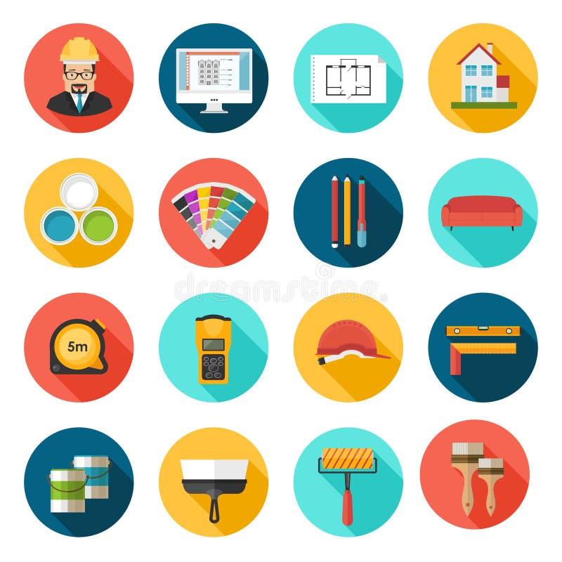 Arquitectura, diseño interior e iconos del vector de las reparaciones fijados libre illustration