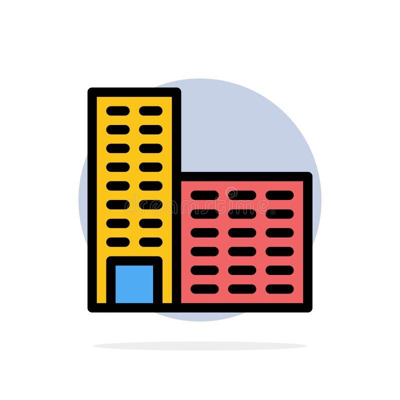 Arquitectura, edificio, icono plano del color de fondo abstracto del círculo de la construcción ilustración del vector