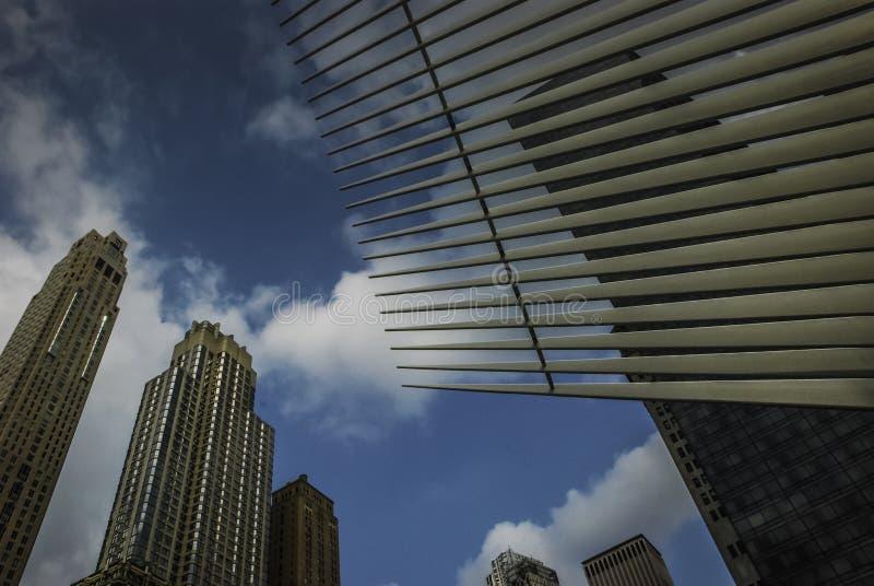 Arquitectura en el World Trade Center Oculus, Nueva York imagenes de archivo
