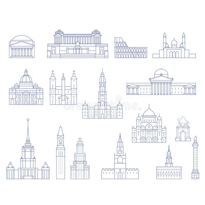 Arquitectura europea - edificios, catedrales y monumentos en l ilustración del vector
