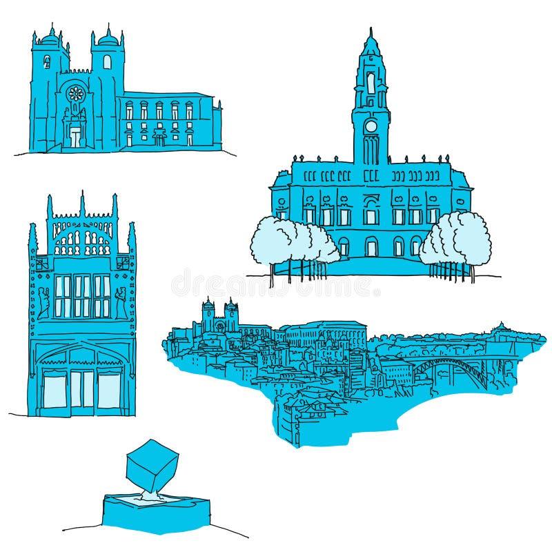 Arquitectura famosa de Oporto Portgal ilustración del vector