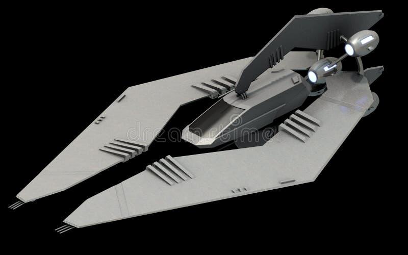 Arquitectura futurista isométrica de la ciencia ficción, combatiente del espacio de la cautela representación 3d stock de ilustración
