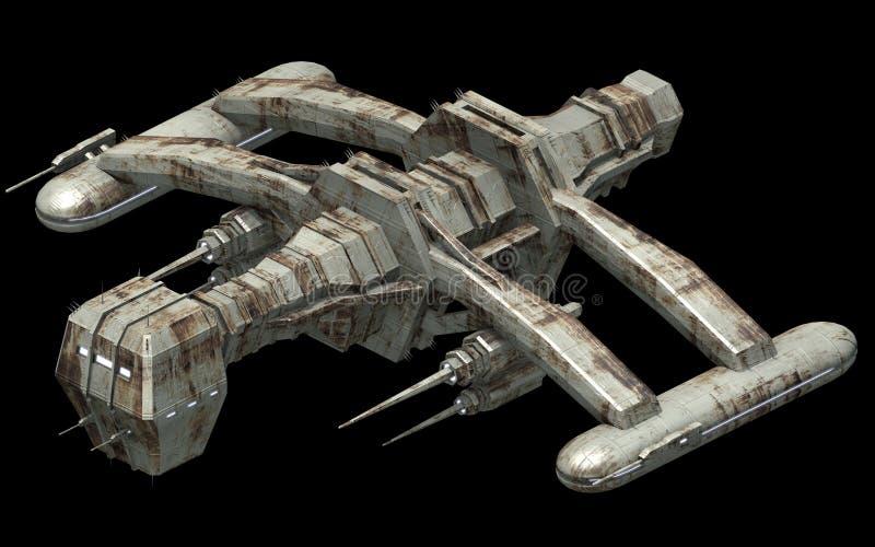 Arquitectura futurista isométrica de la ciencia ficción, pájaro de la guerra del espacio representación 3d ilustración del vector