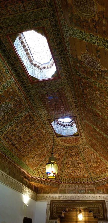 Arquitectura hermosa y decoración de Bahia Palace Medina Marrakesh fotografía de archivo libre de regalías