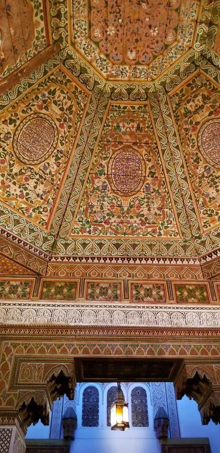 Arquitectura hermosa y decoración de Bahia Palace Medina Marrakesh fotos de archivo
