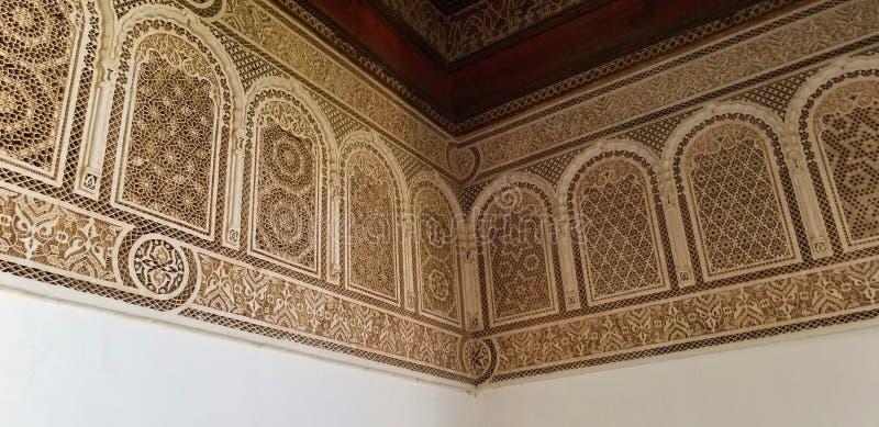 Arquitectura hermosa y decoración de Bahia Palace Medina Marrakesh foto de archivo libre de regalías