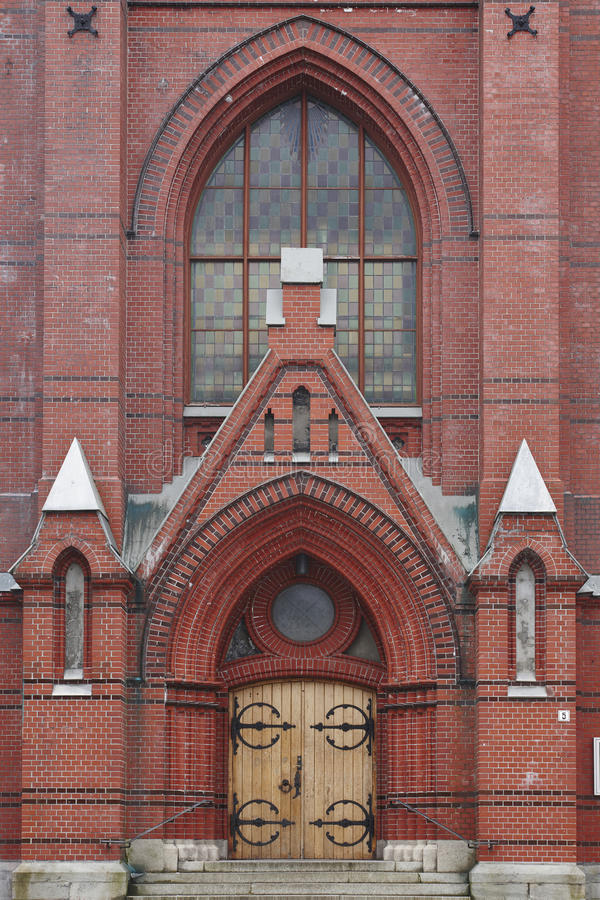 Arquitectura histórica noruega Iglesia del ladrillo rojo de Bergen johann foto de archivo