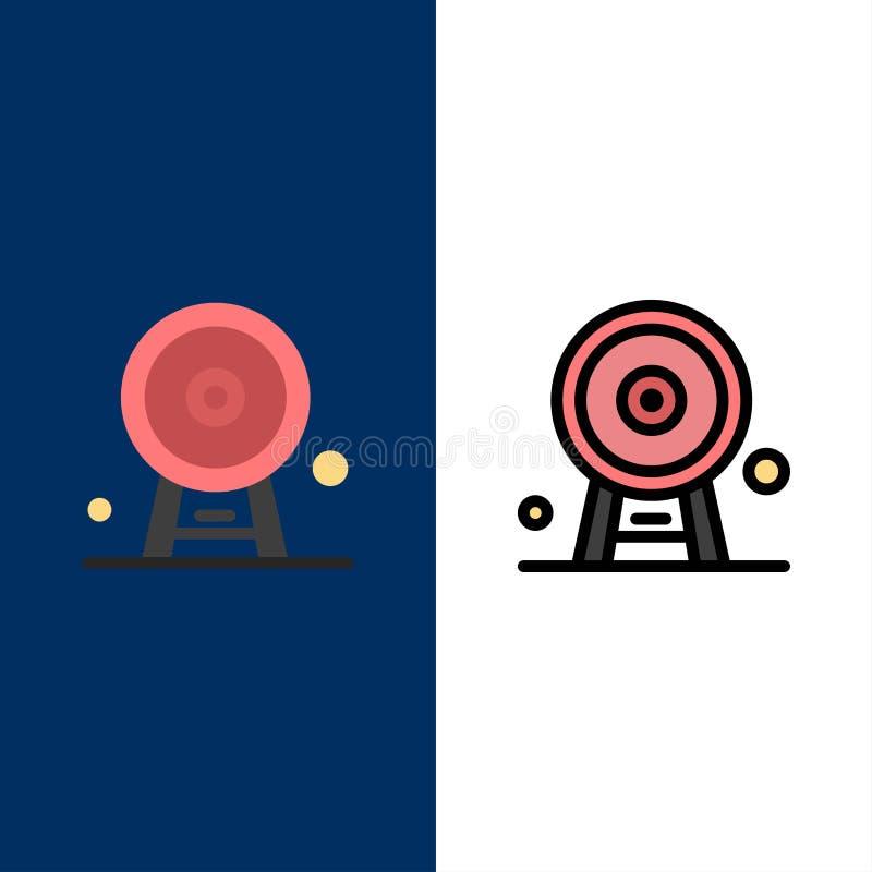 Arquitectura, Inglaterra, Ferris Wheel, señal, London Eye, iconos El plano y la línea icono llenado fijaron el fondo azul del vec stock de ilustración