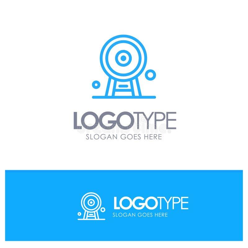Arquitectura, Inglaterra, Ferris Wheel, señal, London Eye, logotipo azul del esquema con el lugar para el tagline libre illustration