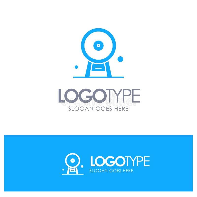 Arquitectura, Inglaterra, Ferris Wheel, señal, London Eye, logotipo sólido azul con el lugar para el tagline stock de ilustración