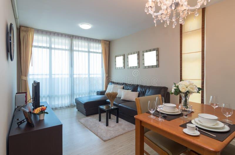 Arquitectura interior de lujo de la sala de estar imagen de archivo libre de regalías