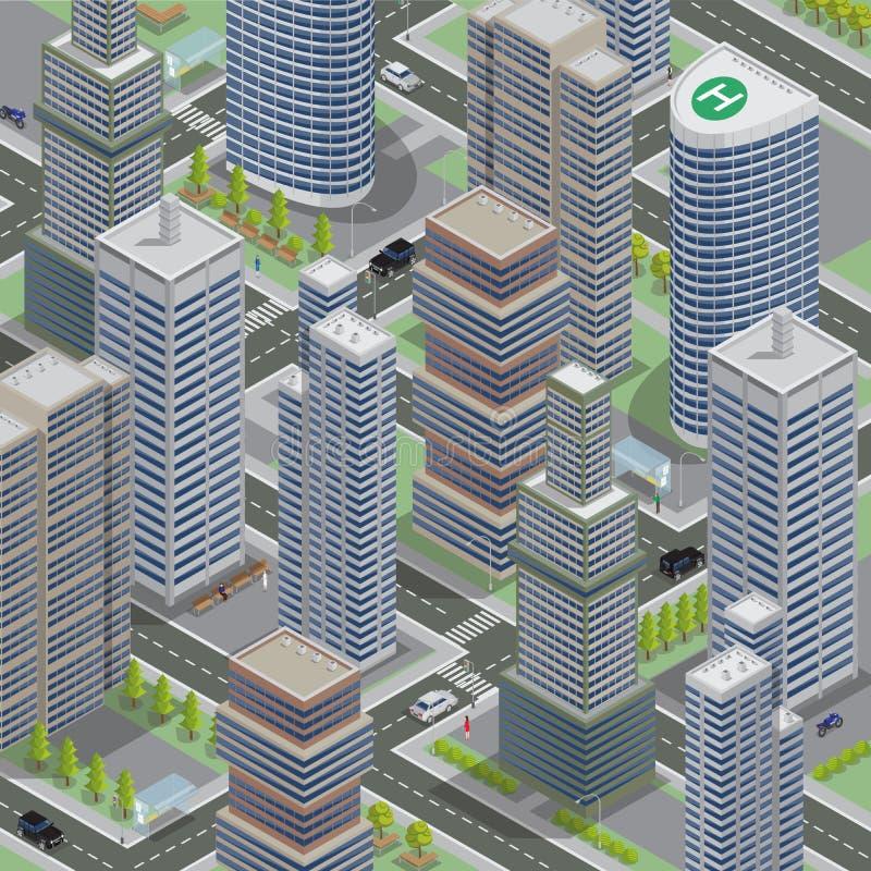 Arquitectura isométrica Ciudad del negocio Paisaje urbano con Scyscraper ilustración del vector