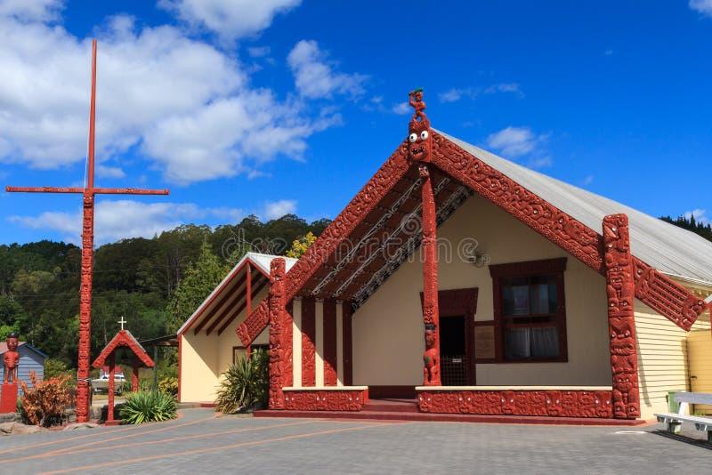 Arquitectura maorí, Whakarewarewa, Nueva Zelanda fotografía de archivo